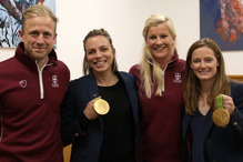 Directors of Sport at the College & Junior School with Kate and Helen Richardson-Walsh