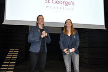 Kate and Helen Richardson-Walsh speak at the Activity Centre project launch party