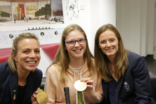 Lucky student gets the chance to hold an Olympic Gold medal