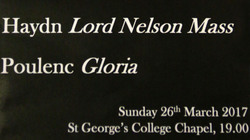 Come and see the Choirs of St George's College perform 'Haydn Lord Nelson Mass and Poulenc Gloria'