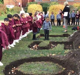 Nursery and Junior School students plant 150th Anniversary flowerbed